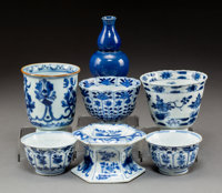 A Group of Six Chinese Porcelain Table Articles Marks: (various) 3-1/2 x 2-1/4 inches (8.9 x 5.7 cm)