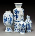 Asian:Chinese, Four Chinese Export Blue & White Porcelain Vases. Marks to smallest two vases: (single Yu character mark). 10 x 3-1/4 inches... (Total: 4 Items)