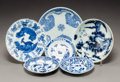 Asian:Chinese, Six Chinese Export Blue and White Porcelain Saucers. Marks: (various). 6-1/8 inches (15.6 cm). ... (Total: 6 Items)