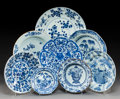 Ceramics & Porcelain:Chinese, Eight Chinese Export Blue and White Porcelain Dishes. Marks: (various). 1-1/2 x 10-1/2 inches (3.8 x 26.7 cm). ... (Total: 8 Items)