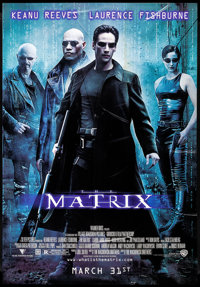 """The Matrix (Warner Brothers, 1999) Rolled, Fine+. Bus Stop (41.25"""" X 68"""") DS Advance. Science Fiction"""