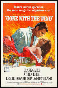 "Gone with the Wind (MGM, R-1970). Folded, Very Fine-. One Sheet (27"" X 41"") Howard Terpning Artwork. Academy A..."