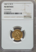 1847-C $2 1/2 -- Cleaned -- NGC Details. AU. Variety 1....(PCGS# 7745)