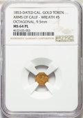 California Gold Charms, 1853 Arms of California, California Gold, Octagonal, Wreath #5, MS64 Prooflike NGC. 9.5mm....