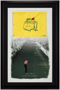 Golf Collectibles:Autographs, Tigers Woods Signed 2005 Masters Flag Limited Edition Display....