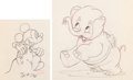 Animation Art:Production Drawing, Mickey's Elephant Mickey and Bobo Production Drawings Groupof 2 (Walt Disney, 1936).... (Total: 2 Original Art)