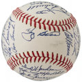 Autographs:Baseballs, 1967 New York Mets Team Signed Baseball with Rookie Tom Seaver (28Signatures)....