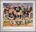 Autographs:Photos, Oakland Raiders Greats Multi-Signed Lithograph (9 Signatures). ...