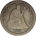 Seated Quarters: , 1871-CC 25C VG 8 ANACS. A rare Carson City issue with a scantemission of 10,890 pieces. This cream-gray example is essenti...