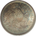 Seated Quarters: , 1876 25C MS67 PCGS. Type Two Reverse with the short feet on the Ain STATES. Mottled aquamarine and rose-gray toning embrac...