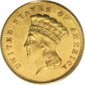 Three Dollar Gold Pieces: , 1865 $3 AU58 PCGS. The green-gold surfaces reveal prooflikesurfaces and amber-gold luster near the peripheral devices. Sma...