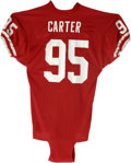 Football Collectibles:Uniforms, 1980s Michael Carter Game Worn Uniform. From the stellar late-1980s San Francisco 49er squads we offer this red mesh jersey...