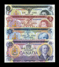 Canadian Currency: , Low Serial Number 0000003 Lawson-Bouey Quartet in Choice CrispUncirculated including BC-46a $1; BC-47a $2; $5 BC-48b; and $...(Total: 4 notes)