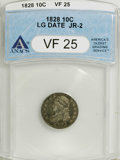 Bust Dimes: , 1828 10C Large Date VF25 ANACS. JR-2. NGC Census: (0/22). PCGSPopulation (0/16). Mintage: 125,000. Numismedia Wsl. Price: ...