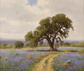 Texas:Early Texas Art - Impressionists, PORFIRIO SALINAS (1910-1973). Untitled Bluebonnets and Oak. Oil oncanvas. 20in. x 24in.. Signed lower left. In this Hill ...