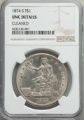 Trade Dollars: , 1874-S T$1 -- Cleaned -- NGC Details. Unc. NGC Census: (17/206). PCGS Population: (18/244). MS60. Mintage 2,549,000. ...