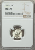 Mercury Dimes: , 1945 10C MS67+ NGC. NGC Census: (1074/2 and 3/0+). PCGS Population: (289/2 and 17/0+). CDN: $50 Whsle. Bid for problem-free...