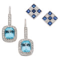 Estate Jewelry:Earrings, Sapphire, Blue Topaz, Diamond, White Gold Earrings . ... (Total: 2 Items)