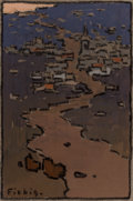 Fine Art - Painting, European:Antique  (Pre 1900), Frederic Fiebig (Russian, 1885-1953). Up the Hill. Oil onpaper. 5-1/2 x 3-5/8 inches (14.0 x 9.2 cm) (image). Signed lo...