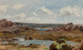 Fine Art - Painting, American:Antique  (Pre 1900), Henri-Joseph Harpignies (French, 1819-1916). A Summer Day.Oil on board. 5 x 8-1/2 inches (12.7 x 21.6 cm). Indistinctly...