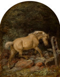 Paintings:Antique  (Pre 1900), Johannes Adam Simon Oertel (American, 1823-1909). A Buckskin Horse in the Forest, 1858. Oil on panel. 8 x 6-1/8 inches (...