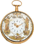 Timepieces:Pocket (pre 1900) , Swiss, Gold Quarter Hour Repeater With Two Motion Automaton, circa 1830. ...