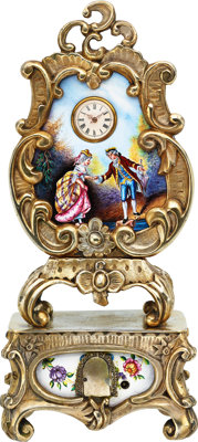 Swiss, Ornate Enameled Clock With Hidden Erotic Automaton, circa 1900