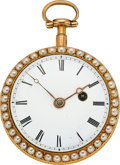 Timepieces:Pocket (pre 1900) , E. Dobell, Hastings, Gold, Enamel & Pearl Verge Fusee, circa 1830's. ...