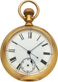 Timepieces:Pocket (pre 1900) , Waltham 18k Gold Riverside Center Seconds Prototype. ...
