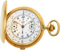 Timepieces:Pocket (post 1900), LIP, Fine Gold Chronograph With Unusual Dial, circa 1910. ...