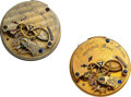 Timepieces:Other , Hampden Two E.W. Bond 19 Jewel Movements. ... (Total: 2 Items)