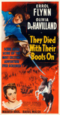 "Movie Posters:Western, They Died with Their Boots On (Warner Brothers, 1941). Fine/Very Fine on Linen. Three Sheet (41.25"" X 79"").. ..."