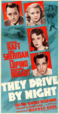 "Movie Posters:Drama, They Drive by Night (Warner Brothers, 1940). Fine+ on Linen. Trimmed Three Sheet (40.5"" X 77.5"").. ..."