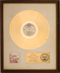 Music Memorabilia:Memorabilia, Curtis Mayfield Back to the World RIAA Gold Sales Award With White Matte (Curtom, CRS 8015)....
