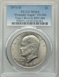 Eisenhower Dollars, (2)1971-D $1 Type One, Friendly Eagle, FS-901, MS64 PCGS. (RDV-006). PCGS Population: (100/166). Mintag... (Total: 2 coins)