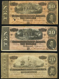 Confederate Notes:1864 Issues, T67 $20 1864;. T68 $10 1864 (2).. Fine-Very Fine.. ... (Total: 3 notes)