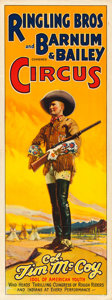 """Movie Posters:Miscellaneous, Colonel Tim McCoy Circus Poster (Ringling Brothers and Barnum & Bailey, c.1935). Folded, Fine/Very Fine. Poster (12"""" X 56"""")...."""