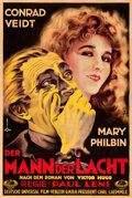"Movie Posters:Horror, The Man Who Laughs (Universal, 1929). Fine+ on Linen. AutographedGerman Poster (37.25"" X 55.75"") Dori Artwork.. ..."