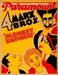 "Movie Posters:Comedy, Monkey Business (Paramount, 1931). Very Good/Fine. Silk Screen Jumbo Window Card (20.75"" X 26.75"") Constantin Alajalov Artwo..."
