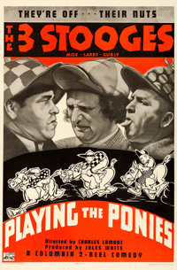 """The Three Stooges in Playing the Ponies (Columbia, 1937). Fine+ on Linen. One Sheet (27"""" X 41"""")"""