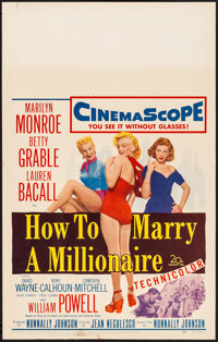 "How to Marry a Millionaire (20th Century Fox, 1953) Very Fine. Window Card (14"" X 22""). Comedy"