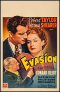 "Movie Posters:Drama, Escape (MGM, 1941) Fine on Linen. Belgian (14.5"" X 22.5""). Drama...."