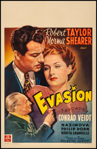 "Escape (MGM, 1941) Fine on Linen. Belgian (14.5"" X 22.5""). Drama"