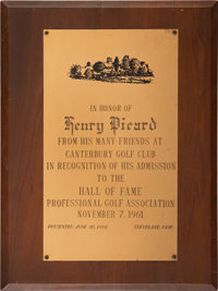1961 Hall of Fame Congratulatory Plaque Presented to Henry Picard