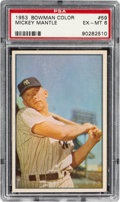 Baseball Cards:Singles (1950-1959), 1953 Bowman Color Mickey Mantle #59 PSA EX-MT 6....