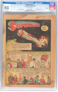 Superman #1 Coverless (DC, 1939) CGC NG Brittle pages