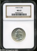 Washington Quarters: , 1932-S 25C MS62 NGC. ...