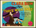 "Movie Posters:Comedy, Three Week Ends (Paramount, 1928). Very Fine-. Title Lobby Card (11"" X 14"").. ..."