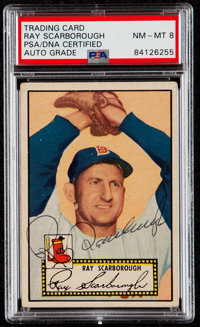 Signed 1952 Topps Ray Scarborough (Black Back) #43 PSA/DNA Auto NM-MT 8