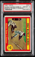Baseball Cards:Singles (1960-1969), 1961 Topps World Series Game 2 - Mantle Slams 2 Homers #307 PSA NM-MT 8....